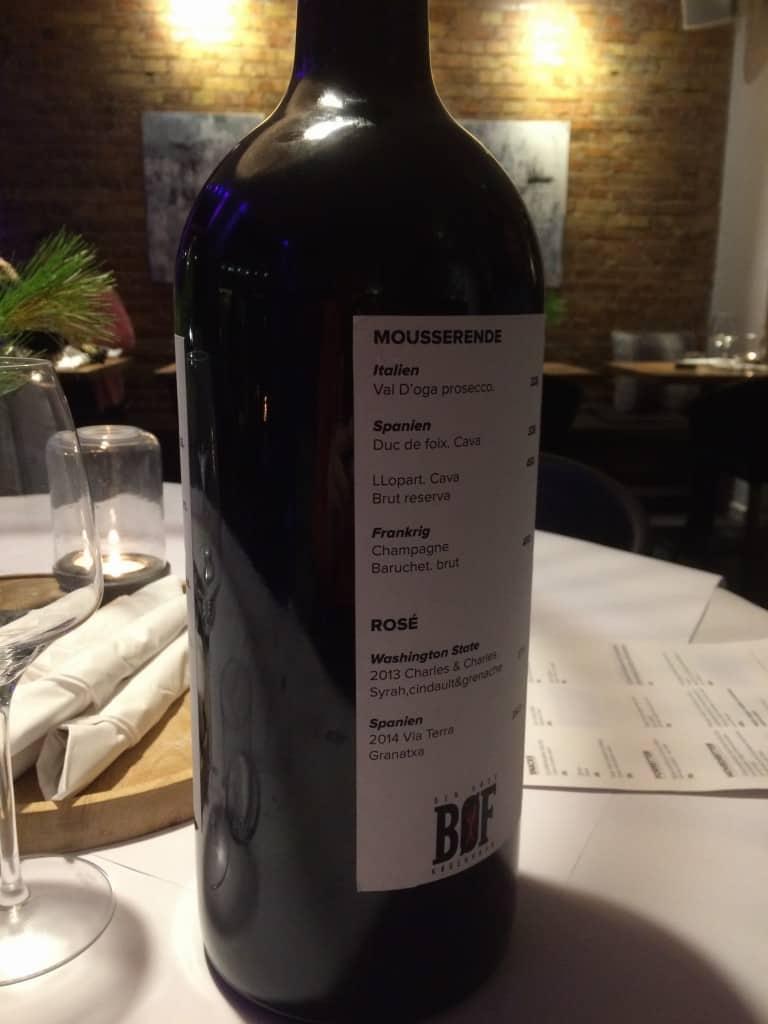 Vinkortet på en vin